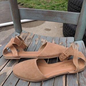 Franco Sarto Tan Leather Ankle Strap Flats 9.5M .